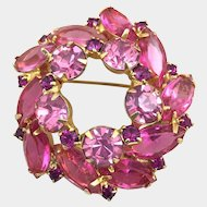 Vintage Pink Rhinestone Glass Brooch Open Back Navettes