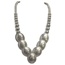 Vintage Sterling Silver Native American Concho Navajo Pearls Necklace