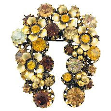 Vintage Rhinestone Flower Horseshoe Wreath Brooch Signed Made In Austria