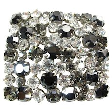 BIG Vintage Glass Rhinestone Black & Clear Buckle c.1950's/60's Prong Set Statement Piece!
