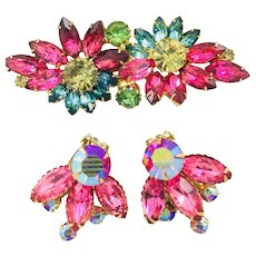 Vintage Beau Jewels AB Pink Earrings & Pink Yellow Blue Green Rhinestone Brooch