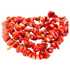 """Beautiful Natural Red Coral Nugget Necklace Sterling Silver Clasp 24"""""""