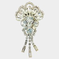 Gorgeous Clear Rhinestone Dangle Fan Shaped c.1950's Brooch