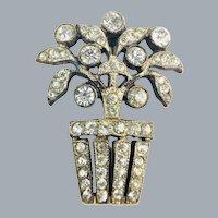 Vintage c.1920's Small Paste Rhinestone Flower Basket Tree Brooch