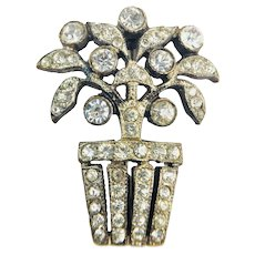 Vintage c.1920's Small Paste Rhinestone Flower Basket Tree Brooch