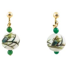 Vintage Gold Filled Hand Painted Chinese Cicada Porcelain Jade Bead Earrings