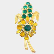 Vintage Large Unsigned Mazer Yellow Green Rhinestone Floral Stem Brooch 4""