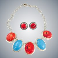 Vintage Mexico Sterling Silver 925 Large Turquoise Coral Cabochon Necklace Earrings Set 115g