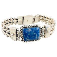 Vintage Gorgeous Lapis Lazuli Sterling Silver 925 Bracelet 63g