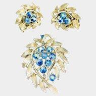 Vintage Lisner Blue AB Rhinestone Brushed Gold Leaf Brooch Earrings Set