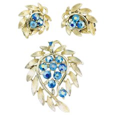 Vintage Lisner Blue AB Rhinestone Brushed Gold Leaf Brooch Earrings Set