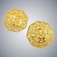 Vintage JOSE BARRERA Avon Huge Runway Gold Tone Ivy Leaf Earrings Designer