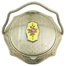 Vintage Yellow Guilloche Enameled Pink Rose Silver Dance Compact Swivel Handle