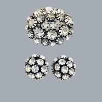 Vintage Clear Rhinestone Japanned Domed Brooch Earrings Set