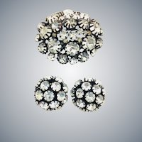 Vintage Clear Rhinestone Japanned Domed Brooch Earrings Set