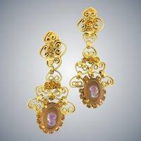 "Vintage D&E Juliana For Celebrity Amber Cameo Rhinestone Dangle Earrings WOW! 3"""