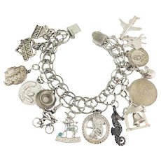 Vintage Sterling Silver Charm Bracelet 15 Charms Bicyclist Horoscope Sweetheart + 56g