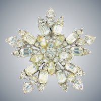 Vintage BOGOFF Signed Icy Clear Rhinestone Snowflake or Star Shaped Brooch