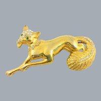 Vintage Art Deco Large Running Fox Figural Rhinestone Gold Enameled Brooch