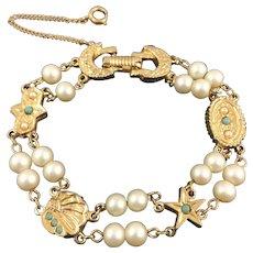 Vintage Victorian Revival Unsigned Goldette Faux Pearl Turquoise Bead Bracelet