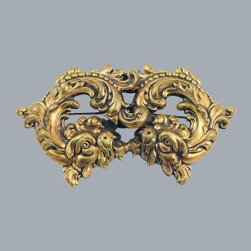 Antique Victorian Double Chinese Foo Dog Dragon Large Brooch