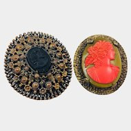 Vintage Pair of Glass Victorian Revival Cameo Brooch Brooches Beautiful! Coral Green & Black