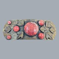 Antique Edwardian Brass Leaf Sash Brooch Coral Art Glass Cabochons