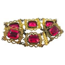 Gorgeous Antique Czech Pink Paste Glass Gilt Brass Panel Link Bracelet
