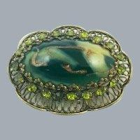 Vintage Green Art Glass Gold Swirl Rhinestone Filigree Brooch