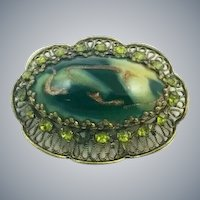 Vintage Green Art Glass Gold Swirl Rhinestone Filigree Brooch
