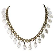 Antique Art Deco Crystal Glass Drop Book Chain Necklace