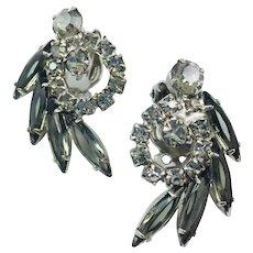 Vintage Juliana Smoky Black Diamond Navette Rhinestone Earrings