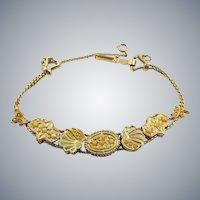 Vintage Victorian Revival Seed Pearl Slide Charm Bracelet