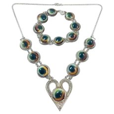 Vintage Operculum Shell Eye Silver Filigree Necklace Bracelet Set