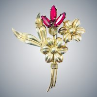 Vintage Symmetalic Cranberry Garnet Glass 14k Gold Sterling Silver Flower Brooch