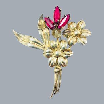 Vintage Symmetalic Cranberry Garnet Glass 14k Gold Sterling Silver Flower Brooch