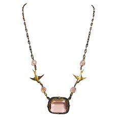 Beautiful Vintage Pink Rose Czech Glass & Brass Bird Upcycled Necklace