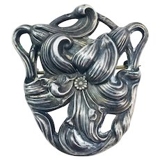 Outstanding Victorian Art Nouveau Sterling Silver Tiger Lily Brooch