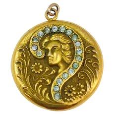 Antique Edwardian Gibson Girl Paste Stone Gold Filled Locket