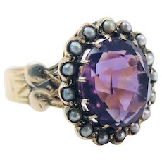 Antique Victorian 14k Rose Gold Amethyst Seed Pearl Ring Size 7.5