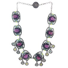 Vintage Czech Art Deco Purple Glass Enamel Dot Leaf Design Necklace