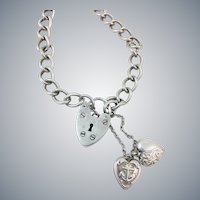 Vintage English Sterling Silver Heart Padlock Lock Charm Bracelet Hallmarked