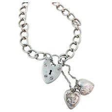Vintage English Sterling Silver Heart Padlock Lock Charm Bracelet Hallmarked