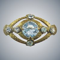 Antique Edwardian Gold Gilt Sparkling Paste Glass Brooch