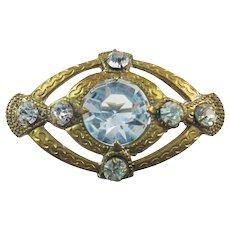 Antique Edwardian Gold Gilt Sparkling Paste Glass Brooch
