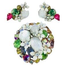 Vintage Juliana D&E Moonglow Rhinestone Enameled Flower Brooch Earrings Set
