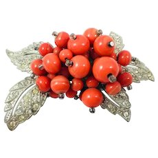 Vintage Miriam Haskell Hess Coral Bead Rhinestone Leaf Brooch - Book Piece