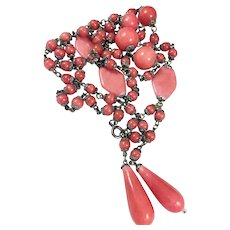 Vintage Art Deco Czech Pink Rose Peking Glass Necklace