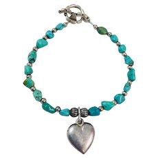 Vintage Turquoise Sterling Silver Puffy Heart Bracelet