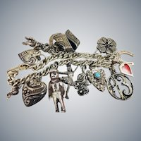 Vintage Sterling Silver Charm Bracelet Repousse Puffy Heart Clover Horseshoe Charms